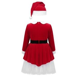 Image 2 - Crianças vermelhas Meninas Natal Vestidos de Veludo Macio Cinto de Malha de Mangas Compridas Vestido com Chapéu Definir Crianças Papai Noel Cosplay Natal vestido