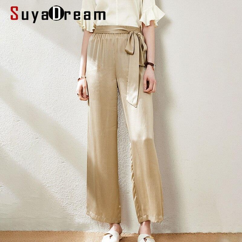 Женские брюки для бега SUYADREAM, элегантные брюки из 100% натурального шелка и сатина длиной до щиколотки со средней талией, 2020