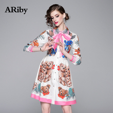 ARiby 2019 New Early Autumn Fashion Lady Lapel Bear Cartoon Print Dress Women Wear French Waist-closing Long Sleeve