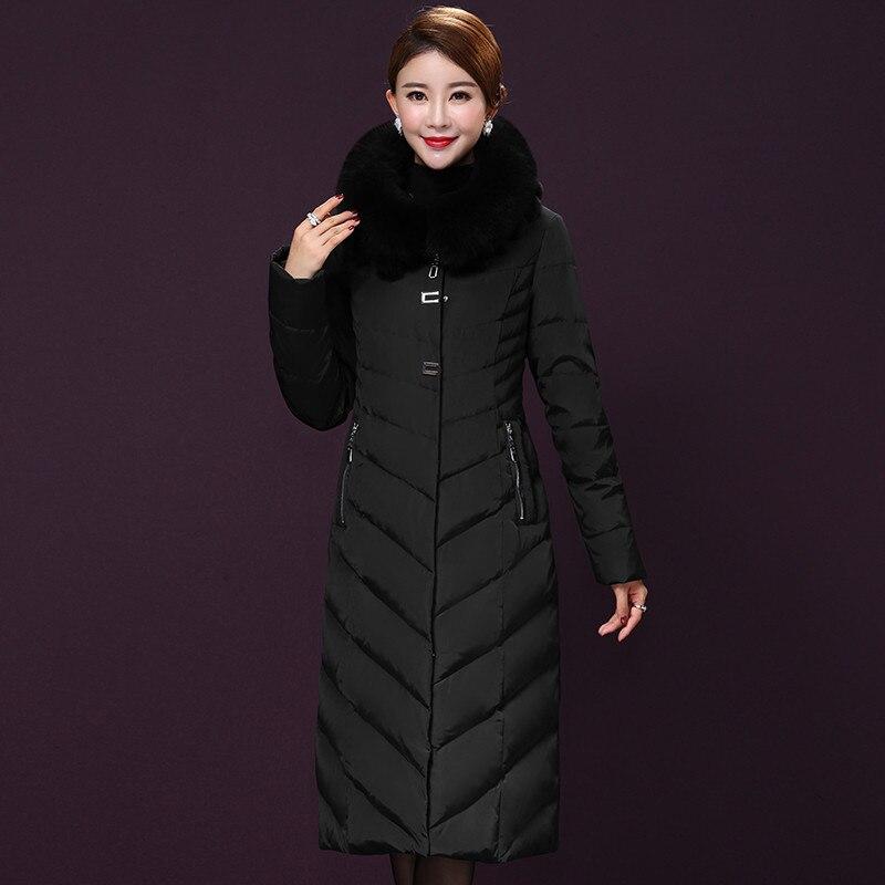 New Winter Jacket Women Fox Fur Collar Coat Female Thick White Duck Down Jackets Maxi Size 5XL Long Parkas Casaco WXF482