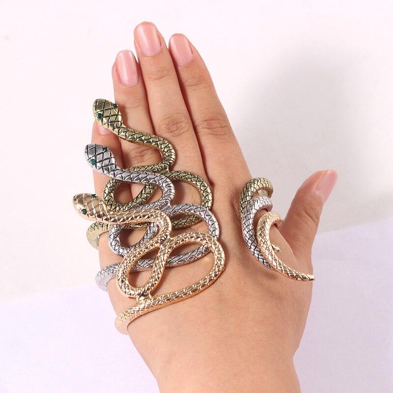 Punk Animal Bracelet Hip Hop Crystal Snake Bracelets For Women Bohemian Gold Bronze Bracelets Bangles Gifts Drop Shipping