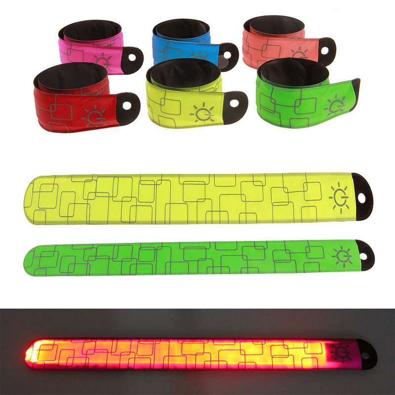 2PCS LED Armband Wristband Reflective Flashing Strip Slap Band Ankle Glow Bracelet Safety Light For Night Jogging Walking Biking