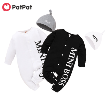 PatPat Hot Sales Spring and Autumn Baby Boy MINI BOSS Rompers with Hat baby born clothes Jumpsuits Baby's Clothing - discount item  59% OFF Baby Clothing