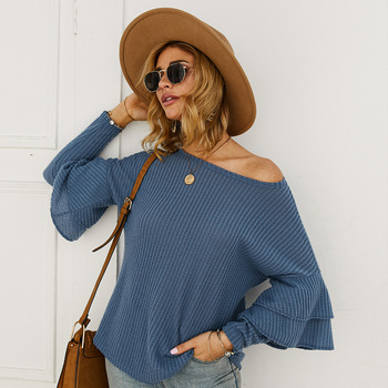 2020 New Fashion Ruffles Knitted Pullover Sweater Women Winter Autumn Long Sleeve Loose Tops Ladies O-neck Casual Jumper 2019 autumn ruffles sweater women sweet flare sleeve slim winter sweater pullover o neck casual female jumper knitwear tops