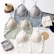 Sexy transparent floral lace wire free Brassiere with pad thin cup comfortable bralette underwear sleepwear ladies bra and panty