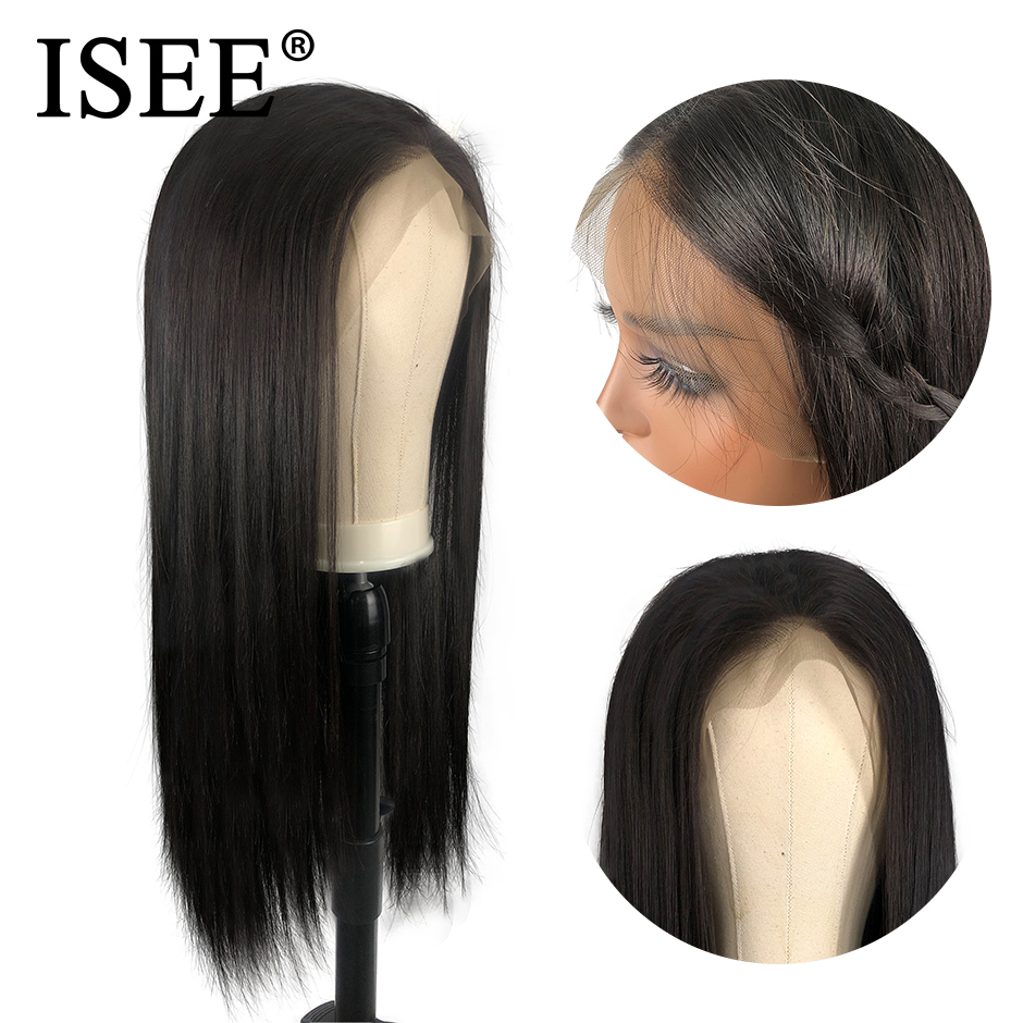 Image 2 - ISEE HAIR 360 Lace Frontal Wig 150% Density Straight Lace Frontal Human Hair Wigs Remy Brazilian Human Hair Wigs For Black Women-in Human Hair Lace Wigs from Hair Extensions & Wigs