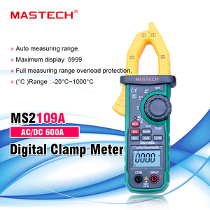 Mastech MS2109A Auto Range Digital AC/DC Clamp Meter Multimeter Volt Amp Ohm HZ Temp Capacitance Tester NCV/REL Tester(China)