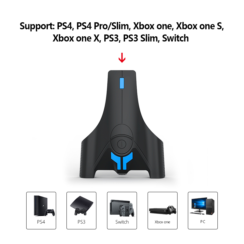 Keyboard And Mouse Adapter  Converter With 3.5mm Headphone For Nintendo Switch / PS4 / Xbox One / PS3 Console With  Led Lights