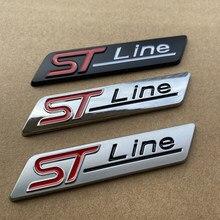 1x metal cromado fosco preto stline st linha emblema do carro emblema decalque do carro adesivo 3d emblema para ford focus st mondeo