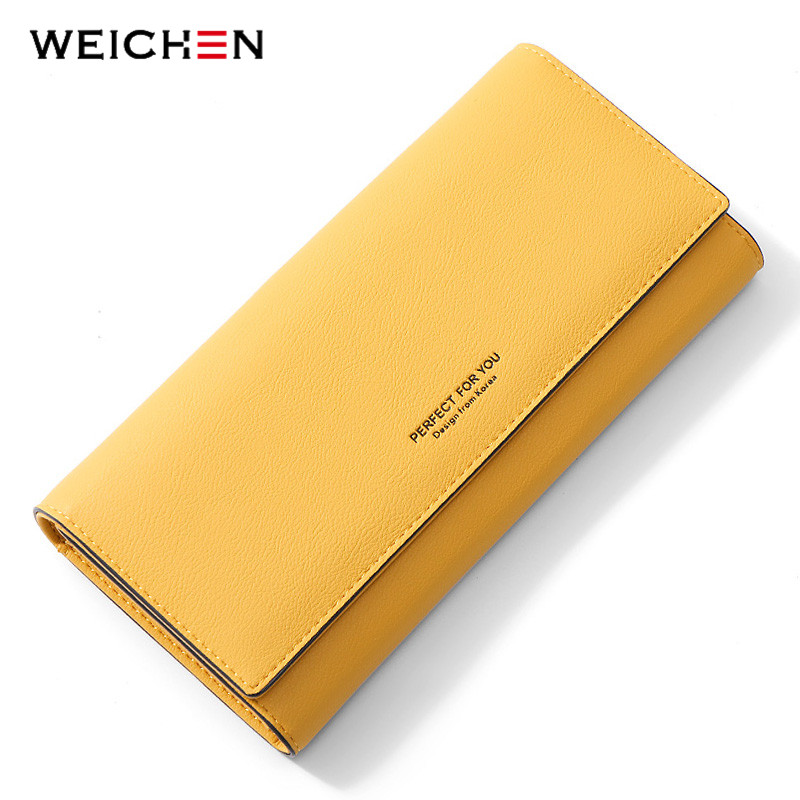 WEICHEN Simplism Wallet Soft Leather Ladies Long Purse Card Holder Phone Pocket Women Wallets Clutch Female Portfel Carteira title=