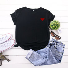 2020 Womens T-Shirt Harajuku Heart Printing Top Female Tshirt Casual Simple Streetwear O Neck White Short Clothes