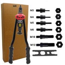 цена на 16 Manual Riveter Gun Hand Rivet Tool Kit Rivet Nut Setting Tool Nut Setter M3/M4/M5/M6/M8/M10/M12