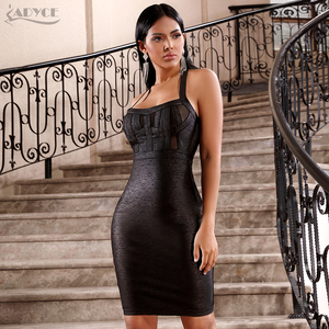 Image 2 - ADYCE 2020 Nova Verão Mulheres Vestido Bandage Vestidos Sexy Black Lace Halter Backless Bodycon Clube Vestido Midi Celebridade Vestido de Festa