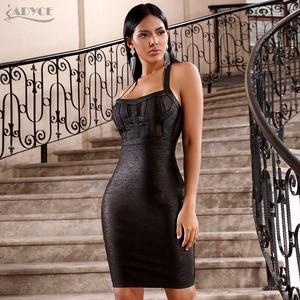 Image 2 - ADYCE 2020 ฤดูร้อนใหม่ชุดสตรีVestidosเซ็กซี่สีดำHalterลูกไม้Backless BodyconชุดMidiงานปาร์ตี้ชุด