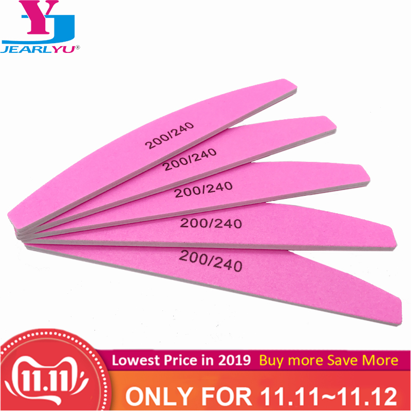 5 Pcs/lot Nail Art Sanding Pink Nail File Sandpaper Grit 200/240 Buffer Polishing For Manicure Care Tools Beauty Salon Tools Set
