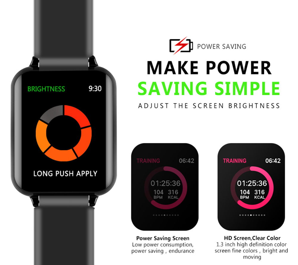 B57 Color Screen Waterproof Heart Rate / Blood Pressure / Oxygen Monitoring / Call Reminder / Remote Control Smart Bracelet