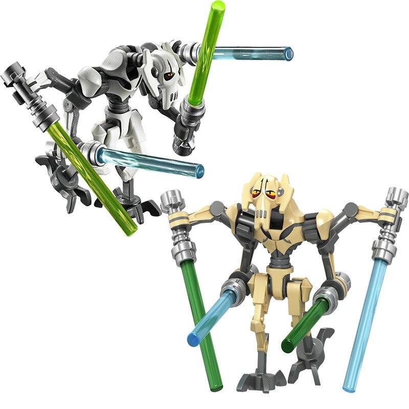 Star Wars General Robot Grievous With Lightsaber Battle Droid Model Building Blocks Enligthen Action Figure Toys For Children