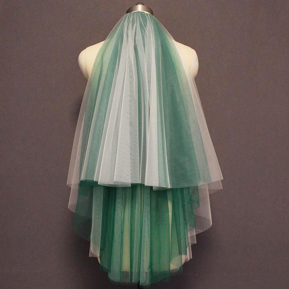 Short Plain Tulle Wedding Veil Soft 4 Layers Cover Face Bridal Veil With Comb Green Blue Veil For Bride Wedding Accessories