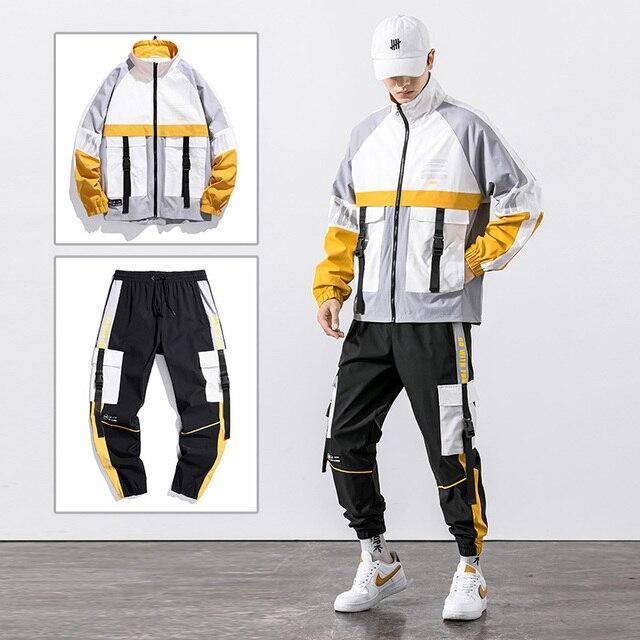 2021 Hip Hop Workwear jacket Mens Tracksuit Jacket+Pants 2PC Sets baseball loose Zipper Ribbons Coat & Long Pants Mens Clothes 2
