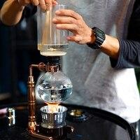 Styl japoński ekspres do kawy syfon herbata syfon garnek próżniowy ekspres do kawy typ szkła filtr do maszyny kawy 3 kubki różowe złoto w Dzbanki do kawy od Dom i ogród na