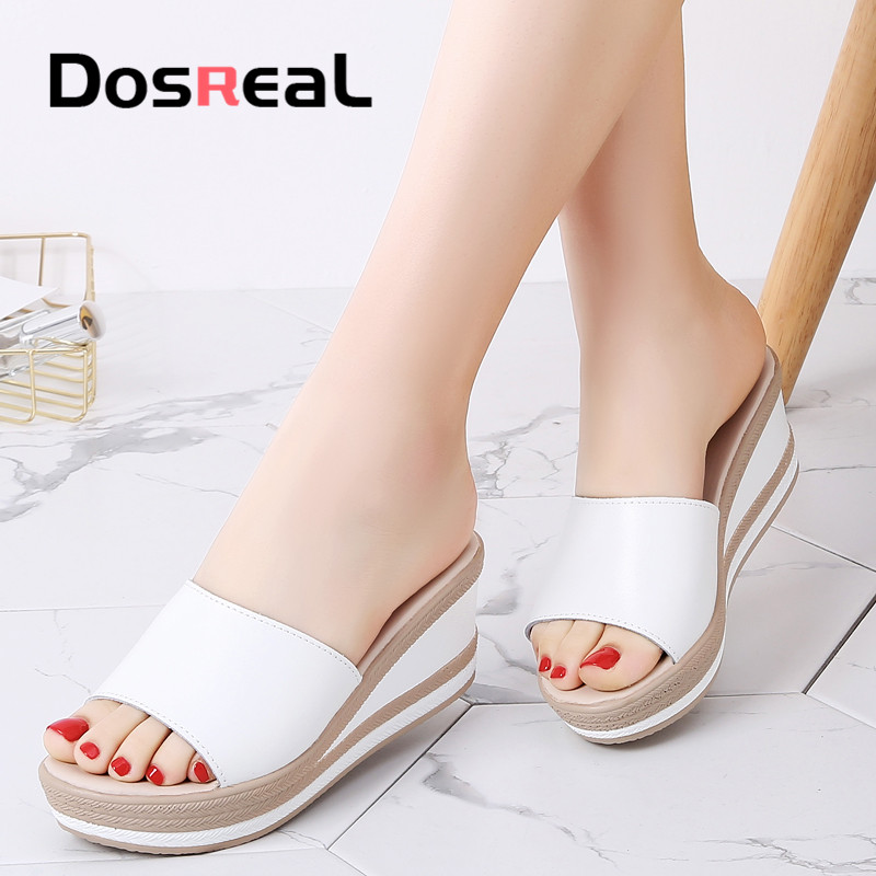 Dosreal Summer Women Slippers High Quality Leather Thick Sole Slippers Female Platform White Straw Slides Woman Wedge Flip Flop