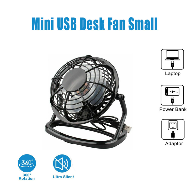 Mini DC 5V USB Desk Fan Small Quiet Personal Cooler USB Powered Portable Table Fan Ventilador