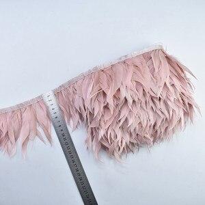 Image 1 - 5M/10Meter Lederen Roze Shred Ganzenveren Trims Ganzen Wit Fazant Veren Voor Ambachten Fringe Lint Kostuum pluimen Plumas