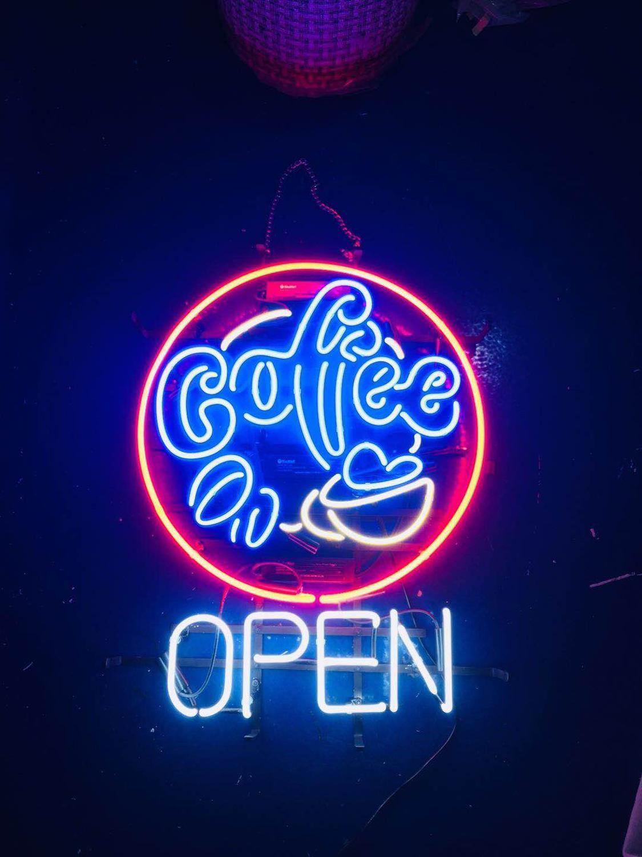 Verre néon lumières boîte néon panneau lumières noël noël fête coloré verre néon acrylique Bar café ouvert