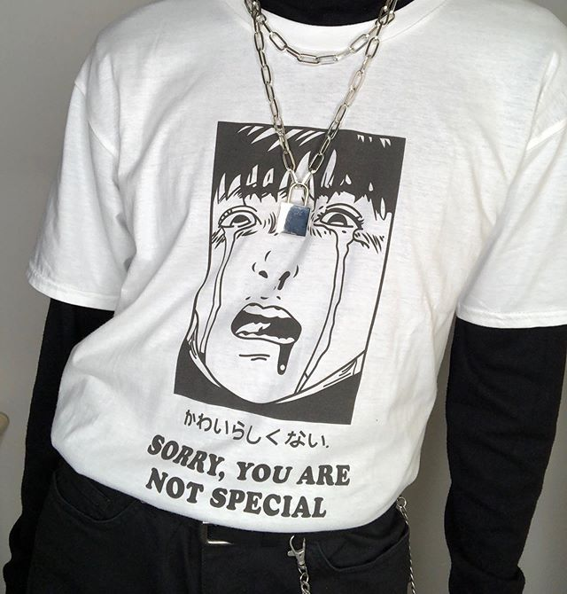 Kuakuayu HJN Sorry You Are Not Special <font><b>Unisex</b></font> Anime T-<font><b>Shirt</b></font> 90s Harajuku Style Oversized <font><b>Tee</b></font> Street Style <font><b>Manga</b></font> <font><b>Shirt</b></font> image