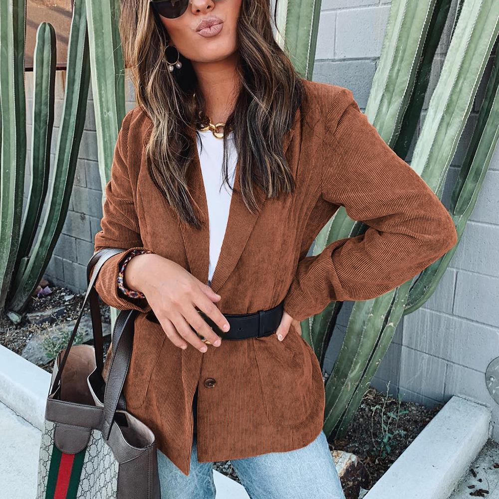 Autumn Women Blazer Mujer 2019 Casual Elegant Long Sleeve Jackets Female Vintage Oversize Elegant Corduroy Suit Blazer Feminino