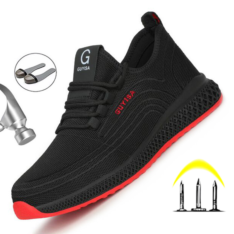 Yadibeiba New Breathable Mesh Safety Shoes Men Safety Boots Work Shoes Men Puncture-Proof Work Sneakers With Steel Toe