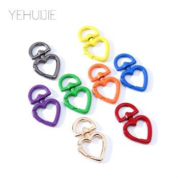 8PCS Keychain Metal Multicolor Heart Charm Car Personality Quality Keyring DIY Cute Handbag Bag