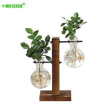 Hydroponic Wood Frame Transparent Vase Green Plant Potted Office Desktop Retro Glass Container Decoration