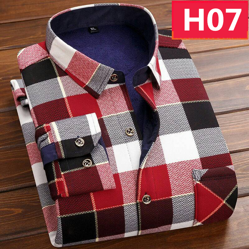 Casual Long Sleeve Plaid Warm Fleece Lining Shirts For Men Winter Thick Velvet Dress Shirt Fashion Soft Flannel Plus Size L-4XL
