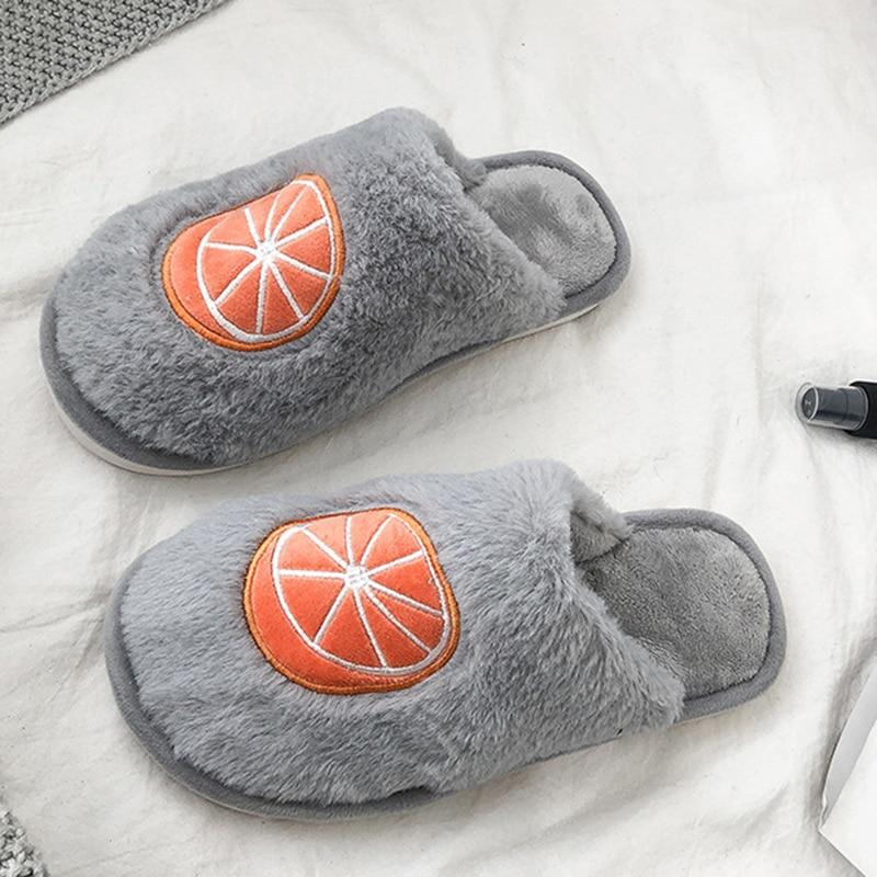 SWQZVT Indoor furry slippers women 2020 fruit print bedroom fur slides women shoes non-slip flat soft house floor female slipper (30)