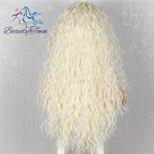 Image 4 - BeautyTown peluca con pelo rizado resistente al calor para mujer maquillaje diario, Cosplay, fiesta de boda, peluca sintética con malla frontal, color rubio 613