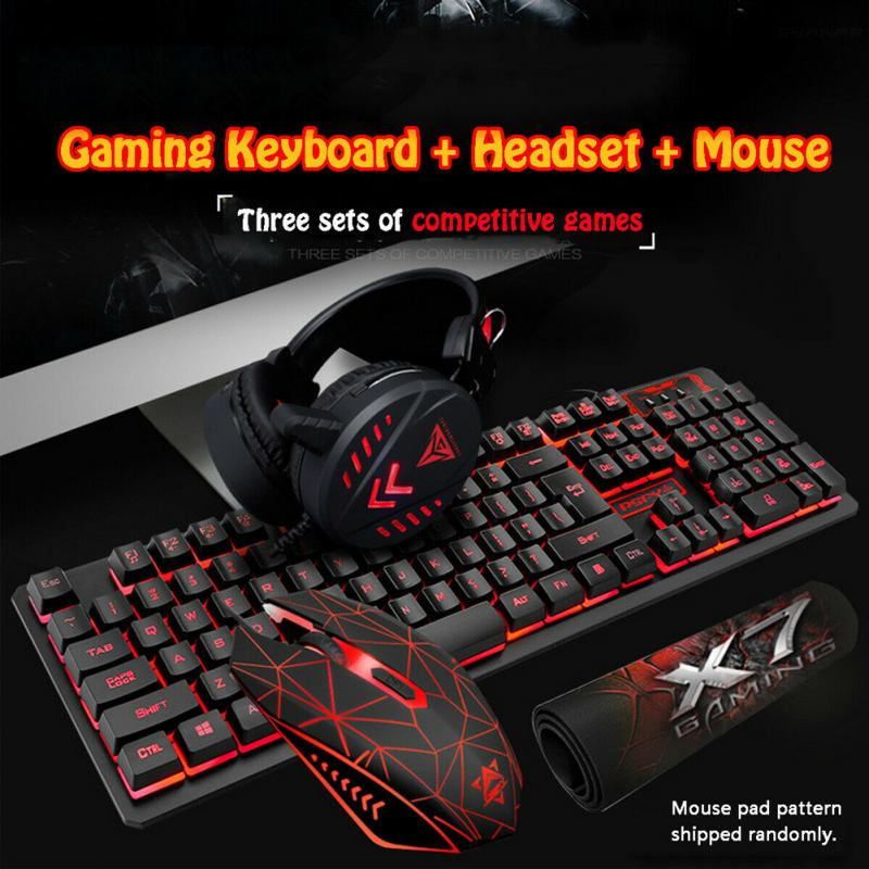 4 in 1 K59 colorful LED Breathing Backlight Pro <font><b>Gaming</b></font> Keyboard Mouse Combos Pad Headset USB Wired Full Key Mouse Keyboard