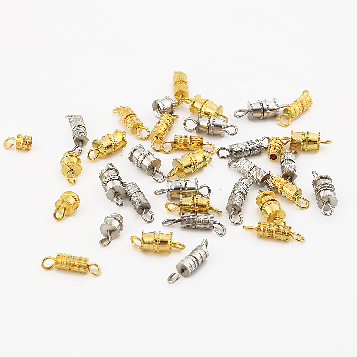 10/20pcs Cylinder Fasteners Buckles Closed Beading End Clasp Screw Clasps For DIY Bracelet Necklace Connectors Jewelry Making