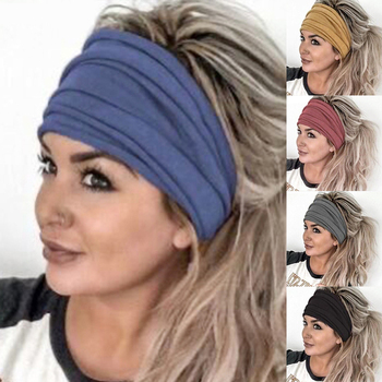 Women Wide Sports Yoga Headbands For Sports Workout Running Casual Solid Color Elastic Wide Hair Ban