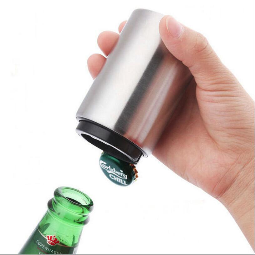 Kitchen Stainless Steel Bottle Opener Beer Opener Automatic Magnetic Beer Openers Bar Wine Opener Tool destapadores de cerveza(China)