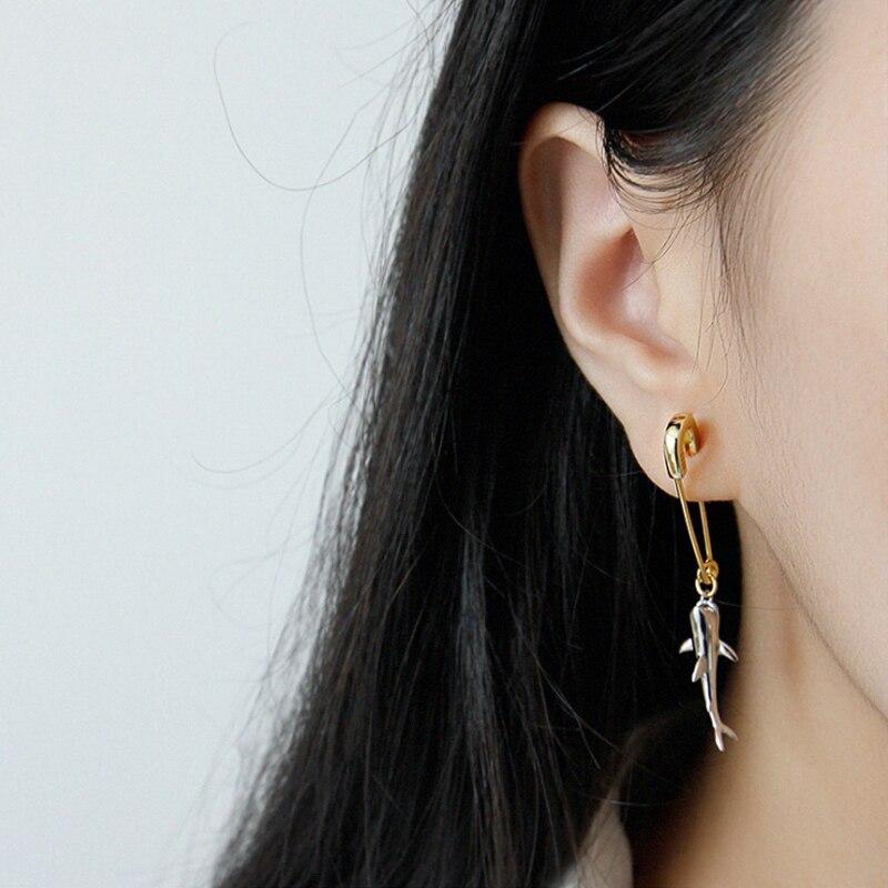 F.I.N.S 1 PC Korean 925 Sterling Silver Earring Only One Piece Single Shark Pin Drop Earrings Personality Female Earrings