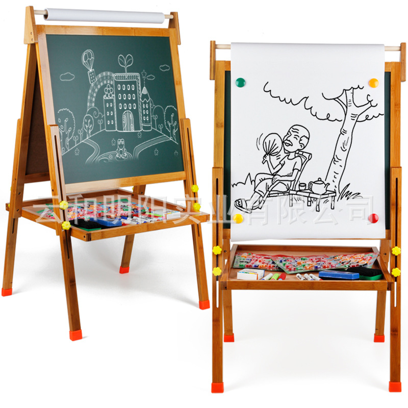 Manufacturers Direct Selling Multi-functional Wooden Bracket Adjustable Blackboard Magnetic Drawing Board CHILDREN'S Drawing Boa
