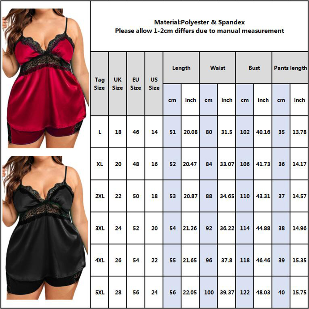 Plus Size Ladies Pajama Set Female Homewear Women Sleepwear Sets Silk Satin Lounge Pyjama Lingerie Babydoll D30 6