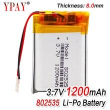 1/2/4pcs High Quality 3.7V 802535 1200mAh Li-ion Polymer Lithium Battery 3.7 Volt Lithium Ion Li-po Li-polymer Batteries Cells 1 2 4pcs 503035 3 7v 500mah lithium polymer battery 3 7v volt li po ion lipo rechargeable batteries for dvd gps navigation