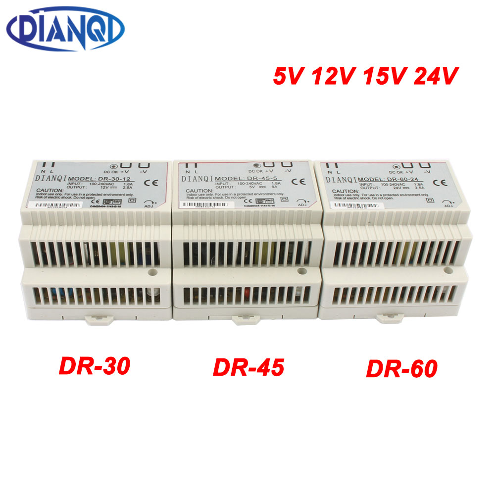 DIANQI Din rail power supply switch 30W 45W 60W 5V 12V 15V 24V power suply ac dc converter good quality DR-30 DR-45 DR-60