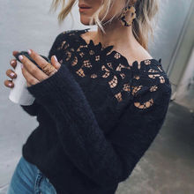 Sexy Black Lace Women Hollow Sweaters Long Sleeve Pullover Tops Sweater