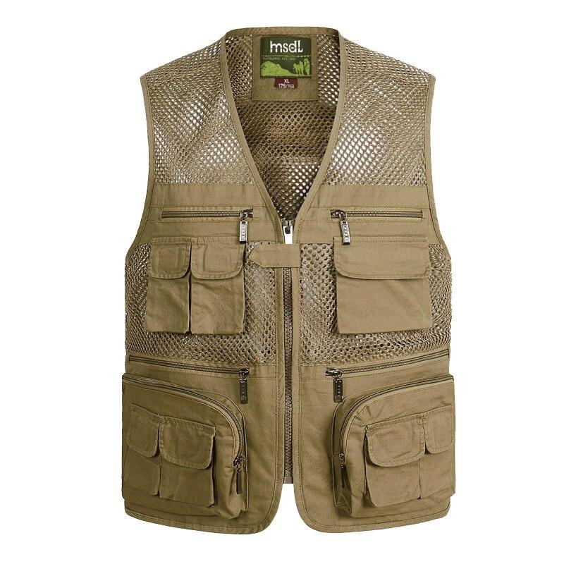 Summer 100% Cotton Mesh Fishing Vest Men Thin Breathable Multi Pocket Photography Waistcoats Travel Climbing Sleeveless Jacket