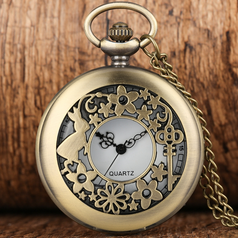 Alice In Wonderland Themed Rabbit Key Flowers Hollow Quartz Pocket Watch Necklace Pendant Clock Kids Children Girls Hours Gifts