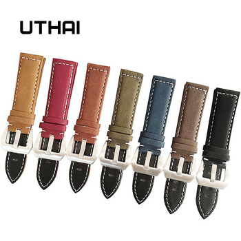 UTHAI P12 18/20/22/24mm Watch Strap Genuine leather Band 18-24mm Accessories High Quality 22mm Leather - discount item  30% OFF Watches Accessories