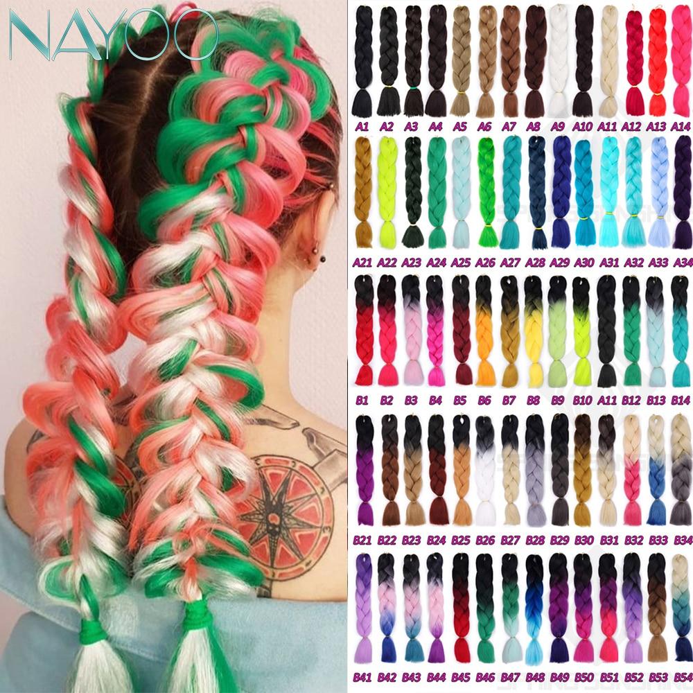 Nayoo Synthetic 24inch Crochet Box Braids Kanekalon Ombre Jumbo Braiding Hair Extension Braid Hair Pink Purple African Woman